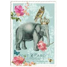 Regal Elephant Glittered Postcard ~ Germany