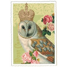 Owl and Roses Glittered Postcard ~ Germany