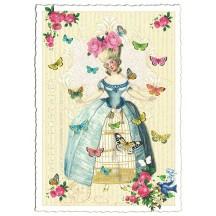 Marie Antoinette Birdcage Collage Postcard ~ Germany