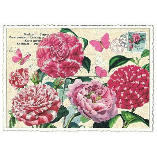 Peppermint Flowers Collage Postcard ~ Germany