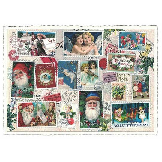 Christmas Stamp Collage Postcard ~ Germany