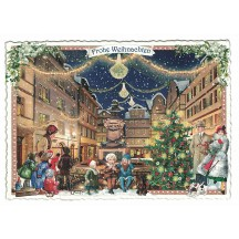 Christmas Town Square Postcard ~ Germany