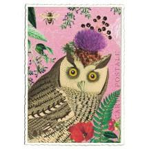 Whimsical Owl Glittered Postcard ~ Germany