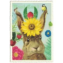 Whimsical Bunny Glittered Postcard ~ Germany
