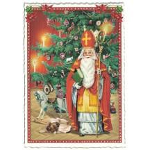 Colorful Santa with Christmas Tree Postcard ~ Germany