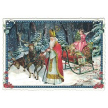 Santa with Reindeer Sleigh Christmas Postcard ~ Germany