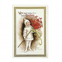 Christmas Snow Babe Gold Foil Postcard ~ Rossi Italy