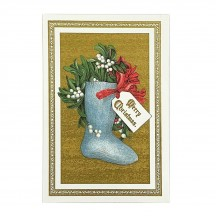 Christmas Stocking Gold Foil Postcard ~ Rossi Italy