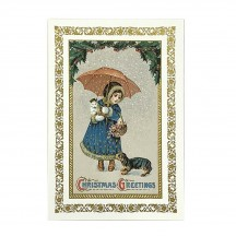 Christmas Girl and Animals Gold Foil Postcard ~ Rossi Italy