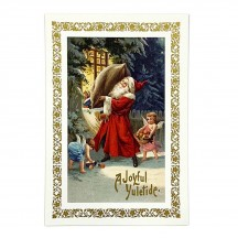 Santa's Christmas Gift Delivery Gold Foil Postcard ~ Rossi Italy