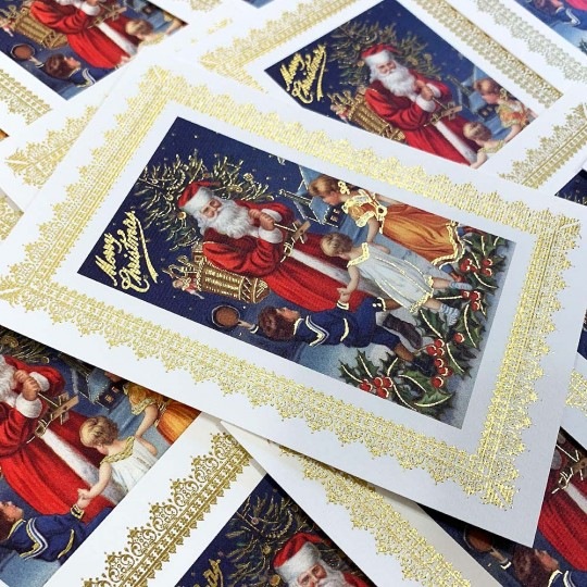 Santa with Children Gold Foil Christmas Postcard ~ Rossi Italy