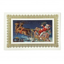 Santa's Sleigh Gold Foil Christmas Postcard ~ Rossi Italy