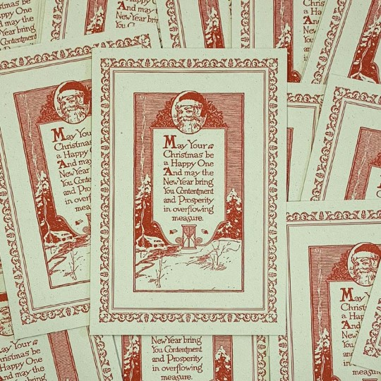 Letterpress Old Fashioned Christmas Wishes Postcard ~ Rossi Italy