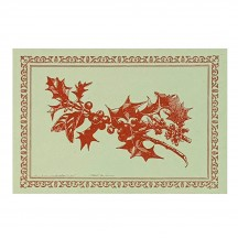 Letterpress Old Fashioned Holly Berry Postcard ~ Rossi Italy