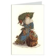 Blue Santa Italian Christmas Card ~ Rossi Italy