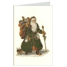 Green Santa Italian Christmas Card ~ Rossi Italy