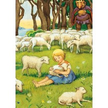 Girl with Lamb Postcard Elsa Beskow ~ Sweden