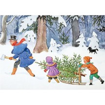 Petter and Lotta get a Fir Tree Christmas Postcard ~ Sweden