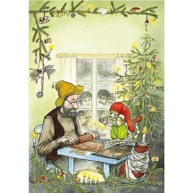 Pettson and Findus Baking Christmas Postcard ~ Sweden