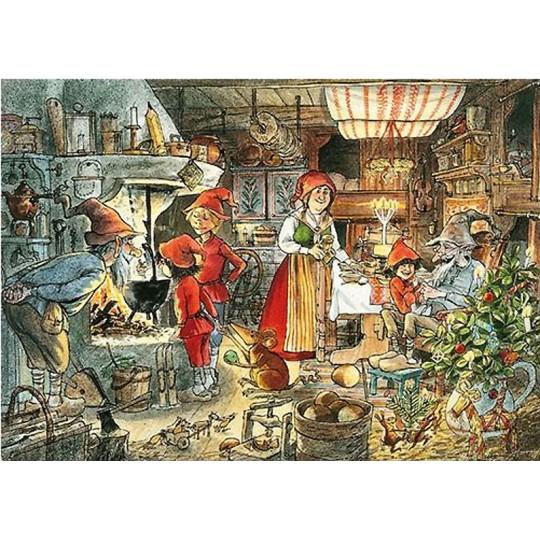 The Kitchen Christmas Postcard Sven Nordqvist ~ Sweden
