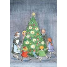 Dance Around the Tree Christmas Postcard ~ Sweden