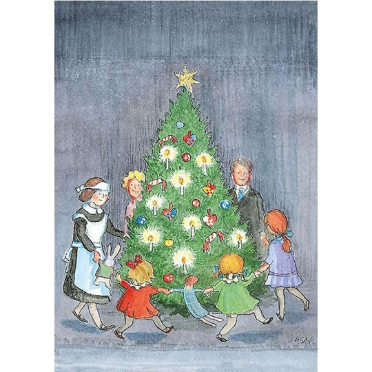 Dance Around the Tree Christmas Postcard ~ Sweden