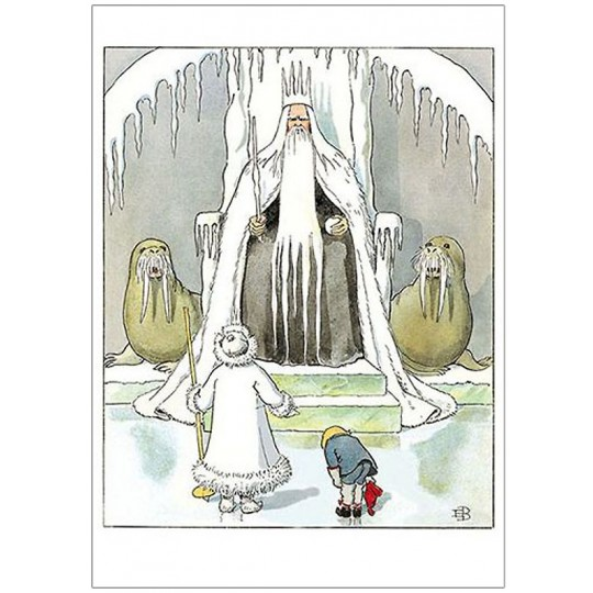 Olle and Jack Frost Meet King Winter Postcard ~ Sweden