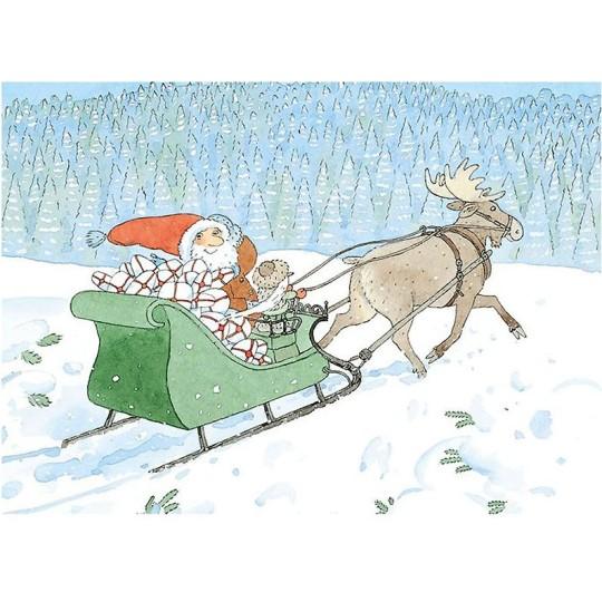 Egon and Santa Sledding Christmas Postcard ~ Sweden