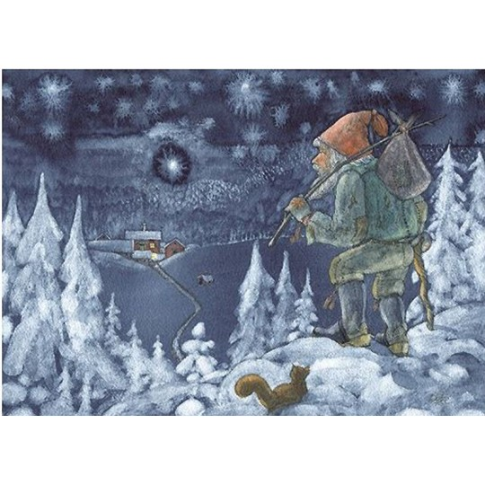 Tomte in the Woods Christmas Postcard ~ Sweden