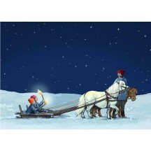 The Sled Christmas Postcard ~ Sweden