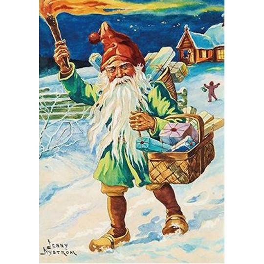 Colorful Tomte Gnome Christmas Postcard ~ Sweden