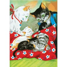 Colorful Cat Family Postcard ~ Sweden