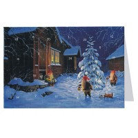 """Tomte Gnomes with Tree Advent Calendar Card from Sweden ~ 6-3/4"""" x 4-1/2"""""""