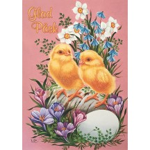 3 Pretty Floral Easter Chicks Postcards ~ Sweden