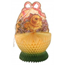 Vintage Easter Chick in Egg Honeycomb Decoration