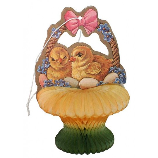 Vintage Easter Chicks in Honeycomb Basket Decoration