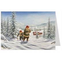 Tomte Gnomes Hiking Christmas Card ~ Sweden