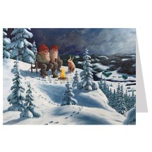 Tomte Gnomes with Bunny Christmas Card ~ Sweden