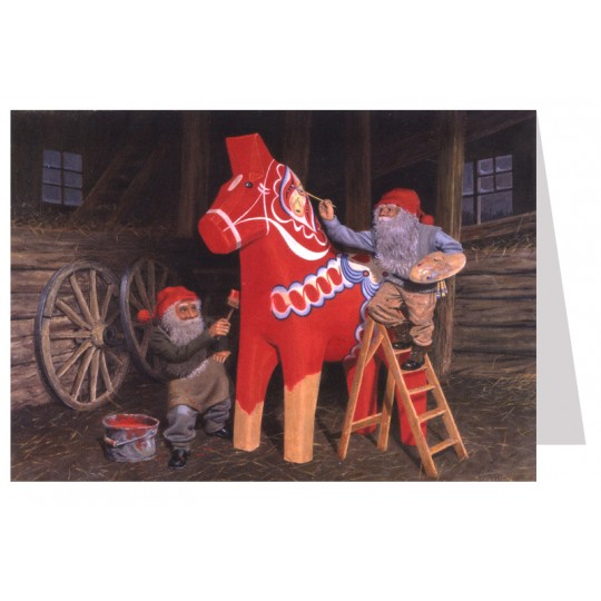 Tomte Gnomes Painting a Dala Horse Christmas Card ~ Sweden
