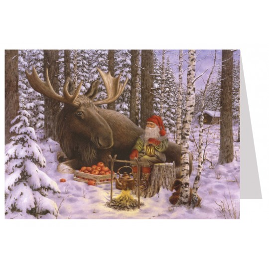 Tomte Gnome with Moose Christmas Card ~ Sweden