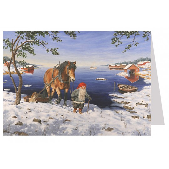 Tomte Gnome Leading Horse by Lake Christmas Card ~ Sweden