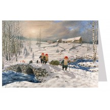 Tomte Gnomes Crossing Bridge Christmas Card ~ Sweden