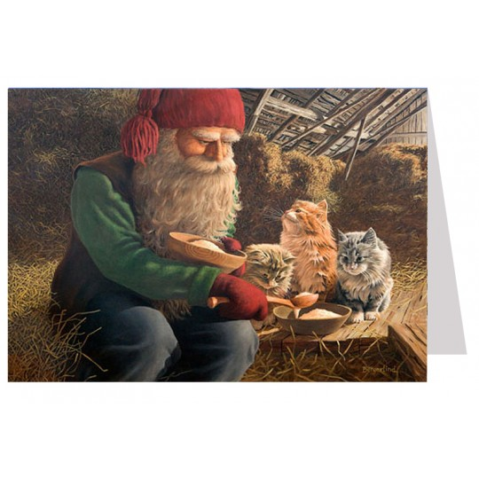 Tomte Gnome Feeding Cats Christmas Card ~ Sweden