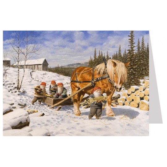 Tomte Gnomes with Horse Collecting Wood Christmas Card ~ Sweden