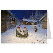 Tomte Gnomes Moonlight Preparations Christmas Card ~ Sweden