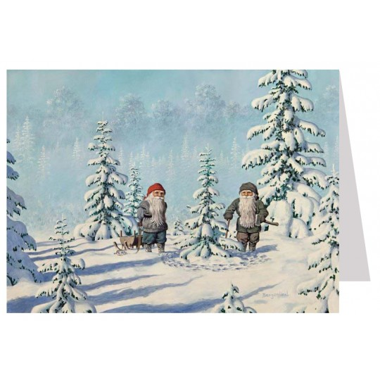 Tomte Gnomes Choosing a Tree Christmas Card ~ Sweden