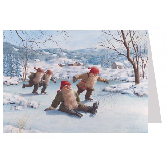 Tomte Gnomes Ice Skating Christmas Card ~ Sweden