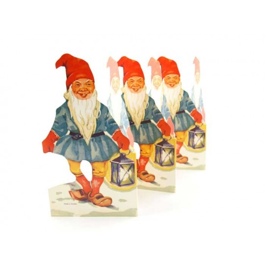 "Gnome with Lantern Folding Paper Frieze from Sweden ~ 7"" tall"