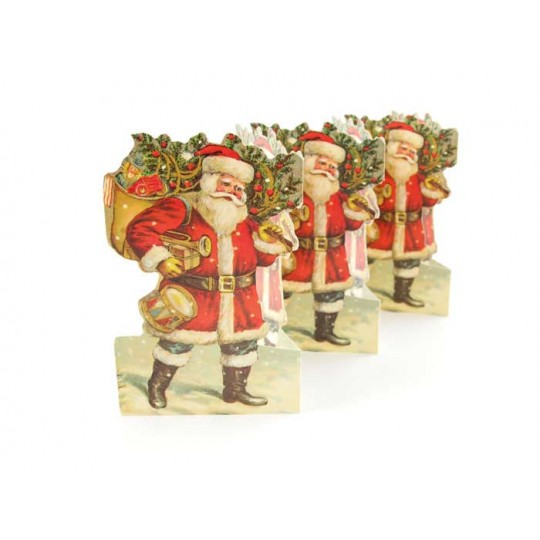 "Santa with Toys and Tree Folding Paper Frieze from Sweden ~ 5-1/2"" tall"