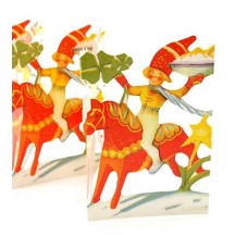 "Dala Horse and Sprite Folding Paper Frieze from Sweden ~ 5-1/4"" tall"